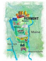 USA Vermont State Travel Poster Map with Touristic