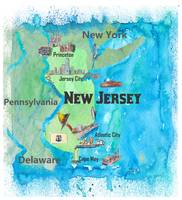 USA New Jersey State Travel Poster Map with Touris