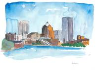 Rochester New York  Impressionistic Watercolor Sky