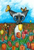 Siamese Cat Tulips Butterflies
