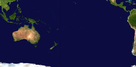 Satellite image of Oceania, Australasia And South-