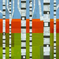 Birches with Olive and Orange 2