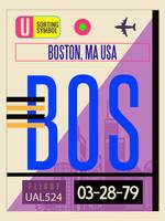 Boston BOS - Vintage Airport LuggageTag Poster