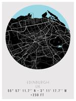 Edinburgh, UK Minimalist Street Map  Poster