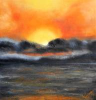 Golden Grey Abstract Ocean Sunset