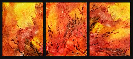 Abstract Fireplace Watercolor Triptych
