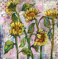 sunflower painting | pink sunset | collage art