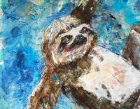 sloth painting | wildlife art | Lazy Summer Sloth