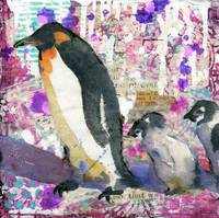 penguin painting | wildlife art | purple collage