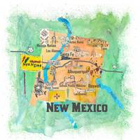 USA New Mexico Travel Poster Illustrated Art Map