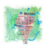 USA Nevada State Illustrated Travel Poster Favorit