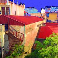 Vietnam Back alley Painting Blue Sky