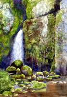 Waterfall with Mossy Rocks