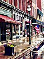 Owego NY - American Flag and Reflections