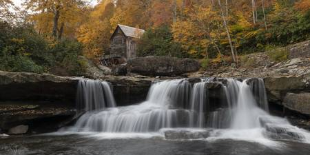 Babcock Mill Autumn Pano Wide in West Virginia by