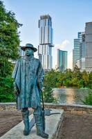 Austin Skyline with Stevie Ray Vaughan Statue