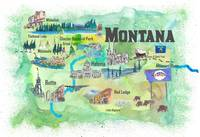 Montana Illustrated Travel Poster Favorite Map