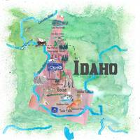 Idaho Illustrated Travel Poster Favorite Map