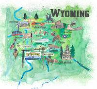 USA Wyoming State Travel Poster Illustrated Art Ma