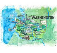 Washington Illustrated Travel Poster Favorite Map