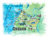 USA Oregon State Illustrated Travel Poster Favorit
