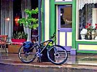 Owego NY - Bicycle Parked on Rainy Street
