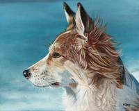 Original oil painting Corgi dog profile