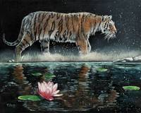 Original oil painting Tiger and lily