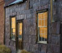 Historic Windows and Sunset, Ghost Town of Bodie