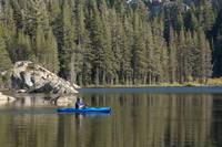 Kayaker and Rocky Shoreline, Woods Lake