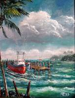 Florida Shrimper Boat & Fishermen by Mazz