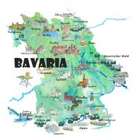 Bavaria Germany Illustrated Travel Poster Map