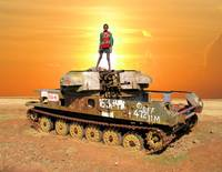 Soldier boy on military tank