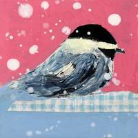 Cute pink and blue chickadee in snowstorm