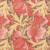 William Morris Poppies Art Nouveau Watercolor