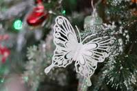 Sparkly White Butterfly Christmas Tree Decoration