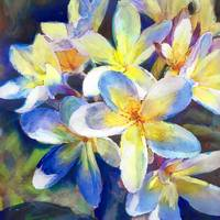 Plumeria Blue yellow Water Color