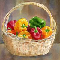 Basket of Red, Yellow and Green Peppers 2