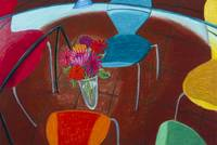 Zinnias and Modern Chairs