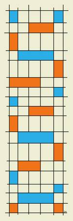 Grid One Turquoise and Orange