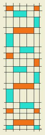 Grid Two Aqua and Orange