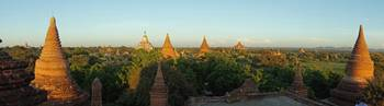 Sunset Pan of Bagan's Temples