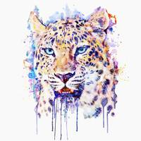 Watercolor Leopard Head