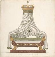 Design for Canopy Bed  Anonymous, French, 19th cen