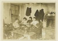 Five young seamstresses in a studio, Lewis Wickes
