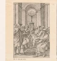 Jewish men in a temple, anonymous, 1550 - 1649 b