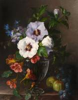 Julie Guyot (fl. 1800s) Nasturtium in a glass vase