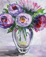 Impressionistic Flowers Bouquet Purple Serenade