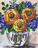 Impressionistic Flowers Bouquet Yellow Blue Accent