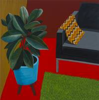 Modern Interior with Rubber Plant